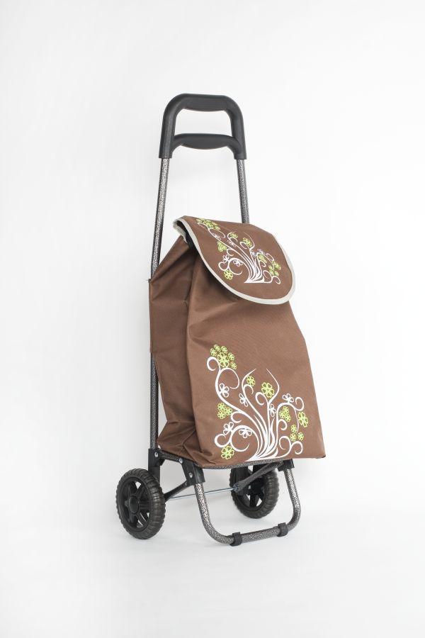 taška 20l s kolečky, hnědá+květ (18kg), kov.rám