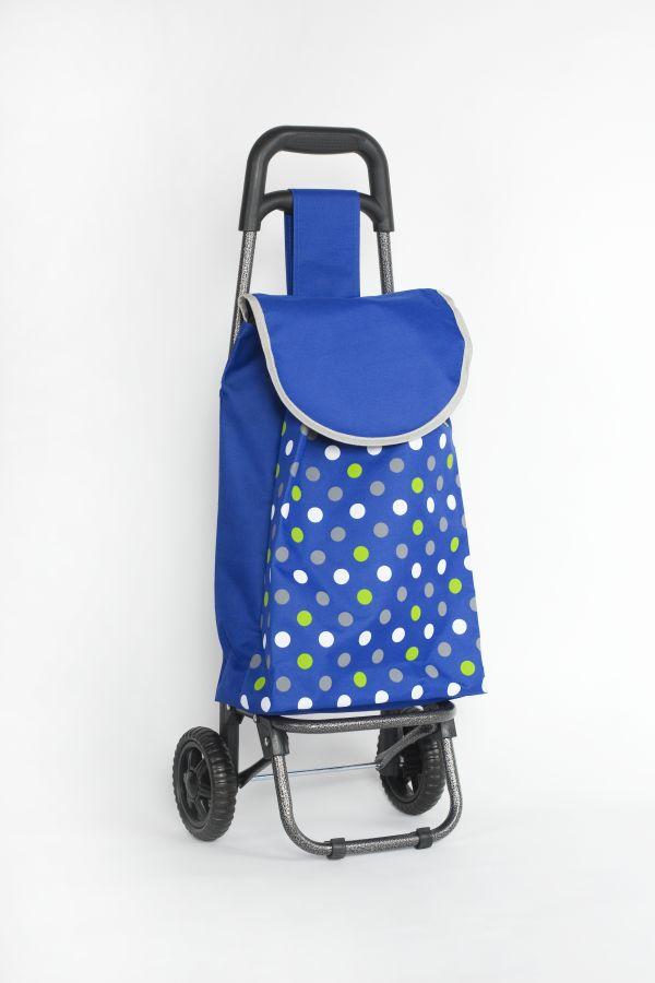 taška 20l s kolečky, modrá+3barvy puntíků (18kg), kov.rám