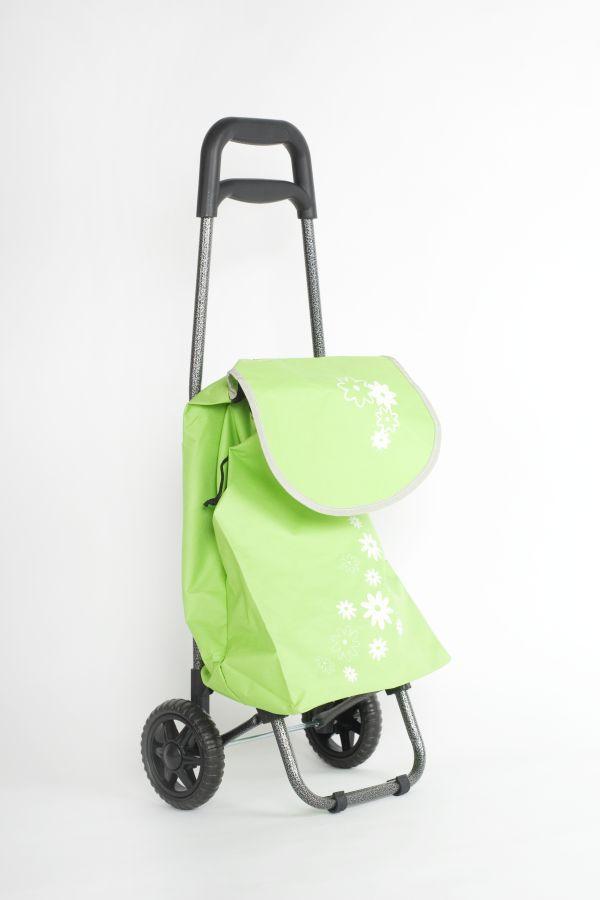 taška 20l s kolečky, zelená+bílý květ (18kg), kov.rám