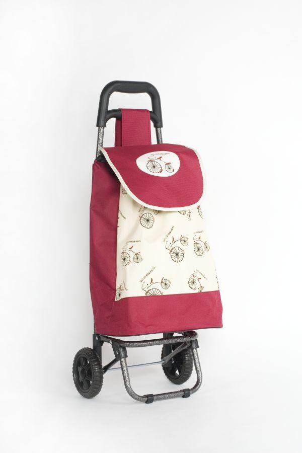 taška 45l s kolečky, BORDÓ s bicyklem (25kg), kov.rám