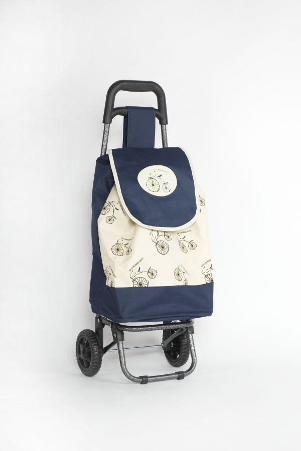 taška 45l s kolečky, MODRÁ s bicyklem (25kg), kov.rám