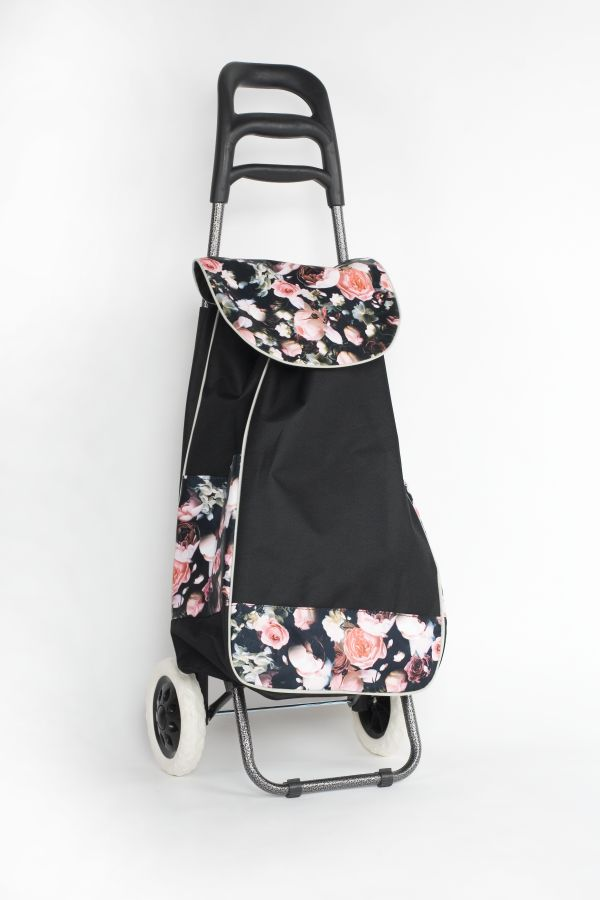 taška 30l s kolečky, ČERNÁ s růžemi (20kg), kov.rám