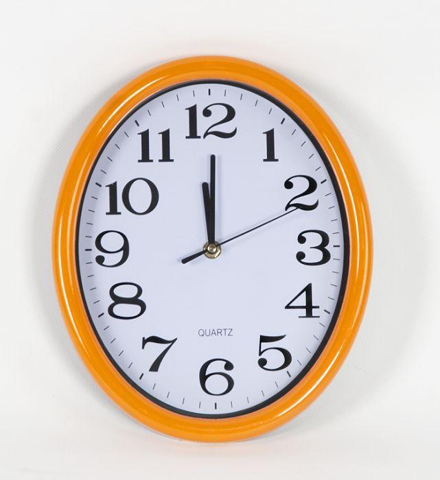 hodiny oválné 28x23cm,bílý ciferník,mix barev