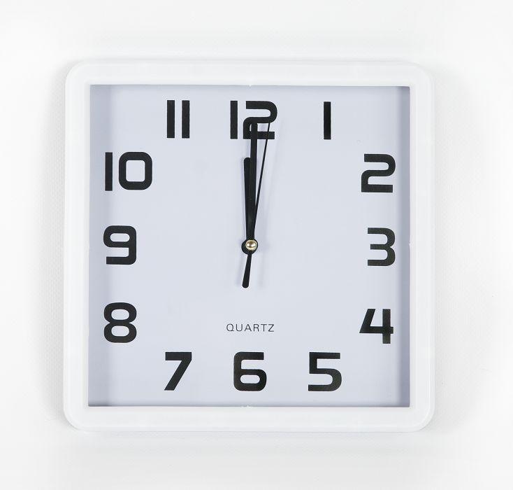 hodiny čtverc.21x21cm,bílý rám