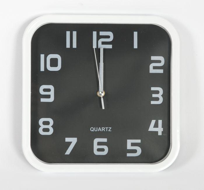hodiny čtverc.28x28cm,bílý rám,černý ciferník