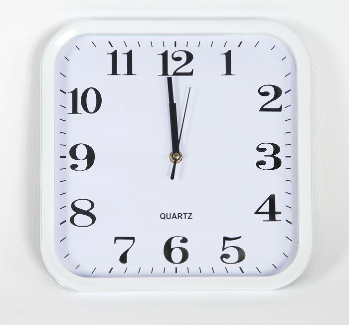 hodiny čtverc.28x28cm, bílý rám, oblé rohy