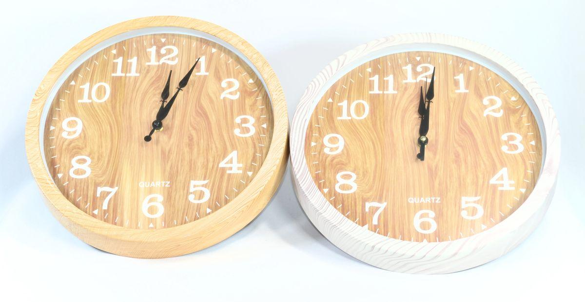 hodiny d35cm, im.dřevo, 2barvy, nástěnné